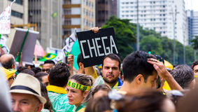 Protesters marching on Paulista Avenue Stock Photos