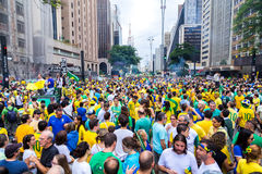 Protesters marching on Paulista Avenue Royalty Free Stock Images
