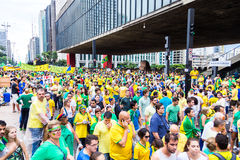Protesters marching on Paulista Avenue in Sao Paulo, Brazil Stock Photo