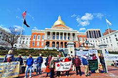 Protesters at Massachusetts State House Royalty Free Stock Image