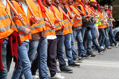 Protesters  during a national general strike in Thessaloniki Stock Photo
