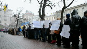 Protesters near Naftogaz Ukrainy in Kiev, Ukraine, stock footage