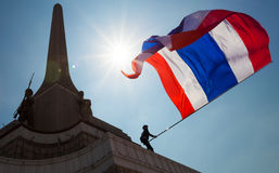 Protesters occupy Victory monument, Bangkok royalty free stock photo