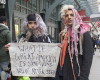 Protesters Outside of Donald Trump`s Inauguration 2017 Royalty Free Stock Photo