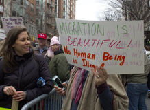 Protesters Outside of Donald Trump`s Inauguration 2017 Royalty Free Stock Photography