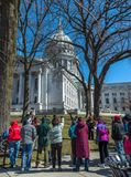 Protesters outside state capital in WI. Gathering of protesters outside state capital Stock Photography