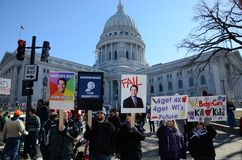 Protesters outside Wisconsin Capitol. Workers protest outside the capitol in Madison, Wisconsin, against a bill proposed by Governor Walker aimed at curtailing Stock Photos