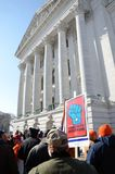 Protesters outside Wisconsin Capitol Stock Image