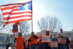 Protesters outside Wisconsin Capitol royalty free stock photography