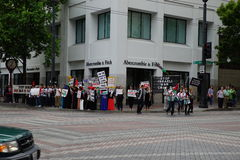 Protesters for palestine disputing Israel Royalty Free Stock Photo