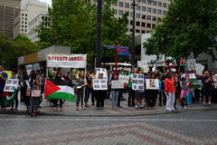 Protesters for palestine disputing Israel Stock Images