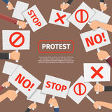 Protesters people concept. Protest signs frame with text Royalty Free Stock Image