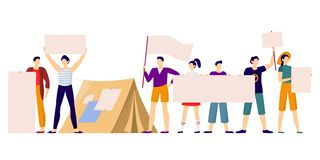 Protesters people. Protest strike, protesting group holding protests banners and protester activist vector illustration. Protesters people. Protest strike royalty free illustration