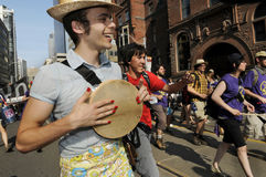 Protesters playing music. Royalty Free Stock Images
