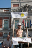 Protesters at the puerta del sol square Stock Photography