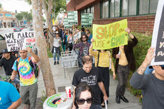 Protesters rallied in the streets against the Monsanto corporati. LOS ANGELES CA - MAY 24: Protesters rallied in the streets against the Monsanto corporation Stock Images