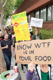 Protesters rallied in the streets against the Monsanto corporation. Royalty Free Stock Images