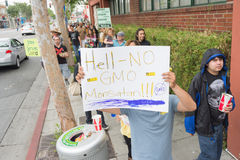 Protesters rallied in the streets against the Monsanto corporation. Royalty Free Stock Photography