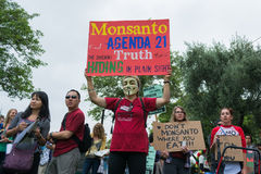 Protesters rallied in the streets against the Monsanto corporation. LOS ANGELES CA - MAY 24: Protesters rallied in the streets against the Monsanto corporation Stock Photos