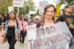 Protesters rallied in the streets against the Monsanto corporation. LOS ANGELES CA - MAY 24: Protesters rallied in the streets against the Monsanto corporation Royalty Free Stock Image