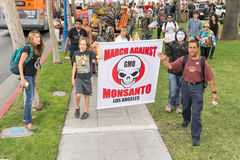 Protesters rallied in the streets against the Monsanto corporation. Royalty Free Stock Image