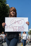Protesters rallied in the streets against the Monsanto corporation Royalty Free Stock Image