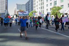 Protesters rallied in the streets against the Monsanto corporation Royalty Free Stock Photos
