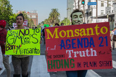 Protesters rallied in the streets against the Monsanto corporation. LOS ANGELES - OCT 12: Protesters rallied in the streets against the Monsanto corporation. The Royalty Free Stock Image