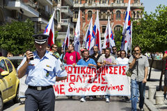 Protesters rallied in the streets. Attended by over 1500 protest. THESSALONIKI, GREECE- JULY 25, 2014: Protesters rallied in the streets. Attended by over 1500 stock photo