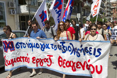 Protesters rallied in the streets. Attended by over 1500 protest. THESSALONIKI, GREECE- JULY 25, 2014: Protesters rallied in the streets. Attended by over 1500 royalty free stock photo