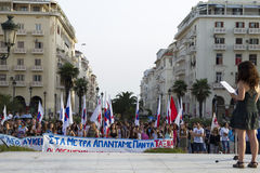 Protesters rallied in the streets in Thessaloniki by members of. THESSALONIKI, GREECE- JULY 25, 2014: Protesters rallied in the streets in Thessaloniki by Royalty Free Stock Photography