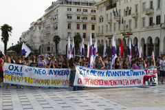 Protesters rallied in the streets in Thessaloniki by members of. THESSALONIKI, GREECE- JULY 25, 2014: Protesters rallied in the streets in Thessaloniki by stock images