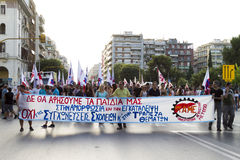 Protesters rallied in the streets in Thessaloniki by members of. THESSALONIKI, GREECE- JULY 25, 2014: Protesters rallied in the streets in Thessaloniki by stock photos