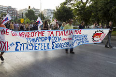 Protesters rallied in the streets in Thessaloniki by members of. THESSALONIKI, GREECE- JULY 25, 2014: Protesters rallied in the streets in Thessaloniki by stock photo