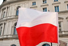 Protesters rally in front of the presidential palace in Warsaw Royalty Free Stock Photo