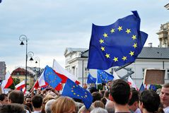 Protesters rally in front of the presidential palace in Warsaw Royalty Free Stock Images