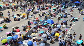 Umbrella protesters standoff at admiralty, hong kong Stock Photography