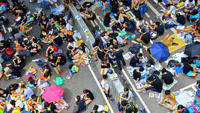 Umbrella protesters standoff at admiralty, hong kong Royalty Free Stock Photos