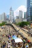 Umbrella protesters standoff at admiralty, hong kong Royalty Free Stock Photos