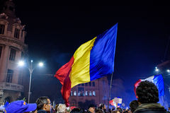 Protesters on streets of Bucharest Royalty Free Stock Photo