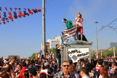 Protesters at Taksim Square Stock Images