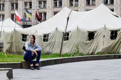 Protesters tents at Khreshatyk street near Maydan Nezalezhnosti square in Kiev Royalty Free Stock Images