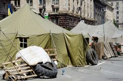 Protesters tents at Khreshatyk street near Maydan Nezalezhnosti square,Kiev Stock Photography