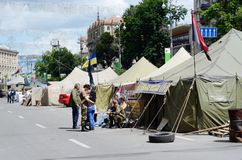 Protesters tents with ukrainian flags at Khreshatyk street,Kiev Royalty Free Stock Photography