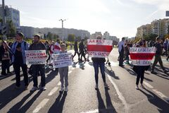 Minsk, Belarus - September 20, 2020. March of justice. Protesters took to the streets of Minsk with placards and flags. Peaceful