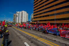 Protesters from Unidad Popular party marching in Stock Images