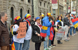 Protesters from Venezuela demonstrate on Ramblas Stock Image