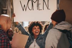 Protesters at women`s march Stock Photos