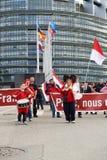 Protestez contre la fusion de la région d'Alsace avec la Lorraine et le Champa Photos libres de droits