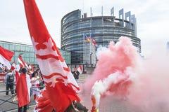 Protestez contre la fusion de la région d'Alsace avec la Lorraine et le Champa Image stock